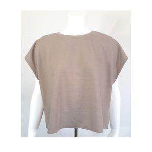 Zara womans basics tan wide sleeve t shirt